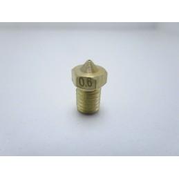 Ugello nozzle estrusore in ottone 0,6mm V6 M6 stampante 3D prusa reprap makerbot