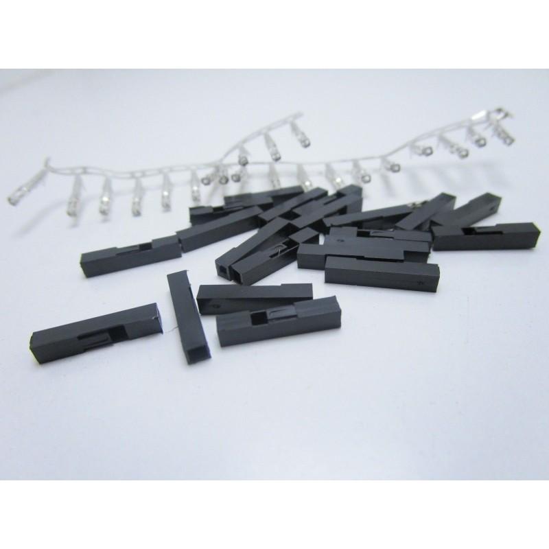 20 pezzi Terminali dupont femmina 1P 2,54mm ponticelli con contatto da saldare
