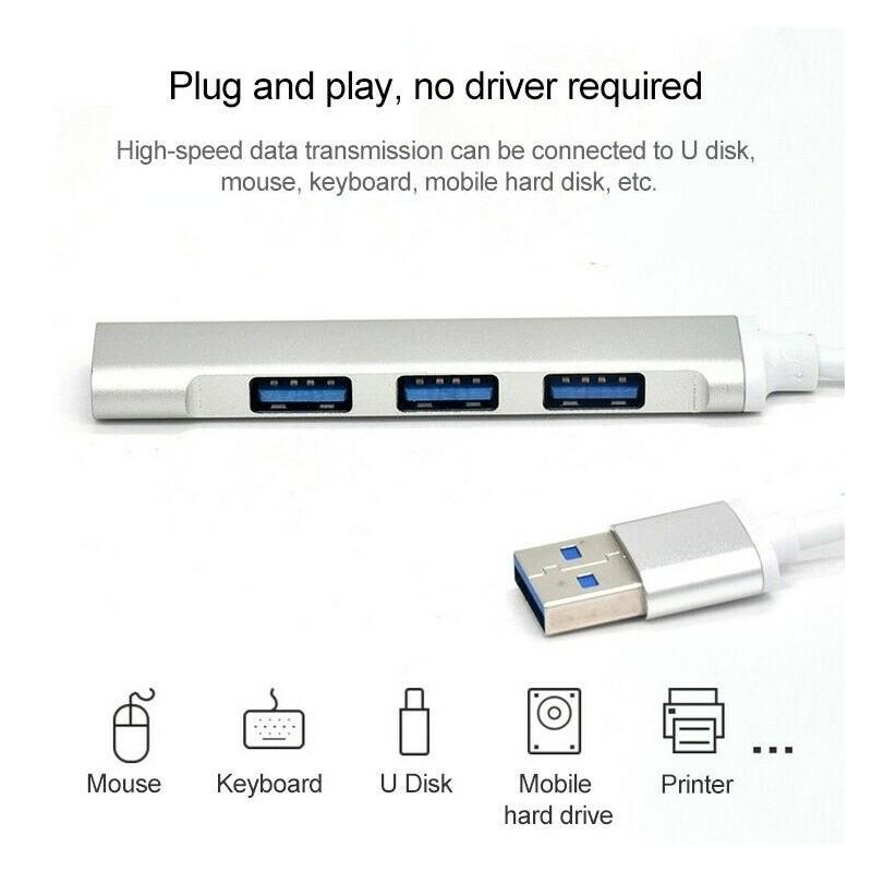 Hub 4 porte USB 3.0 case in alluminio trasferimento ad alta velocità