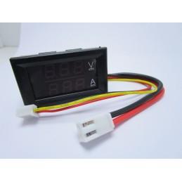 """2 in 1 Tester digitale display LCD 0.28"""" voltmetro 100v amperometro 10A + cavi"""