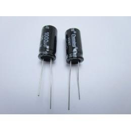 5 pezzi Condensatore elettrolitico in allumino verticale 1000uF 25v Ø 10mmx20mm