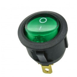 Interruttore rocker rotondo SPDT AC 6A 250Vac con tasto on/off luminoso verde