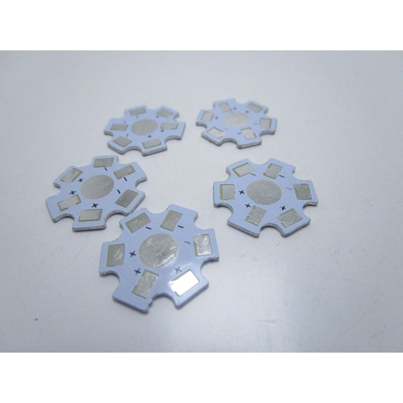 5pz Dissipatore di calore in alluminio per LED SMD 1w watt 5500-7000K 20mm