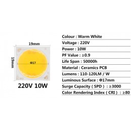 Chip led in ceramica cob round 10W 220V bianco caldo 1200 lumen 9x19x17mm