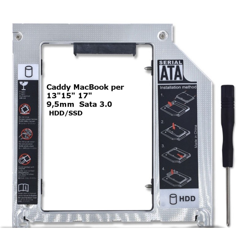 "2nd caddy adattatore per Apple MacBook Pro Unibody 13"" 15"" 17"" 9,5mm SATA 3.0"