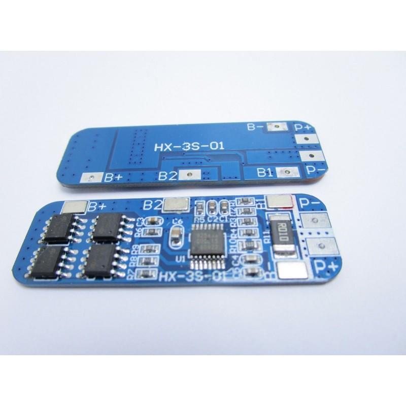 Circuito di protezione e ricarica celle 12V 10A BMS per pacchi batterie 3s 18650