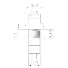 2pz Pulsante da pannello normalmente aperto con tasto blu 12mm 2 pin 150v 3A