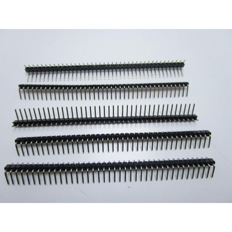 Connettori strip line 40 poli maschio 90° larghezza 6mm passo 2,54mm per arduino