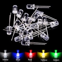 10 pezzi Diodi led Ø 5 mm 3V giallo verde bianco rosso verde blu per elettronica
