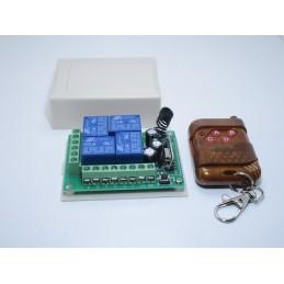 Scheda ricevente wireless relè 12v 4ch con telecomando rf 433mhz per automazione
