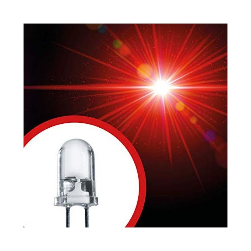 15 pezzi Diodo led rosso 5mm da 1.8 a 3.4V 630nm 20mA 5.000 mcd alta luminosità
