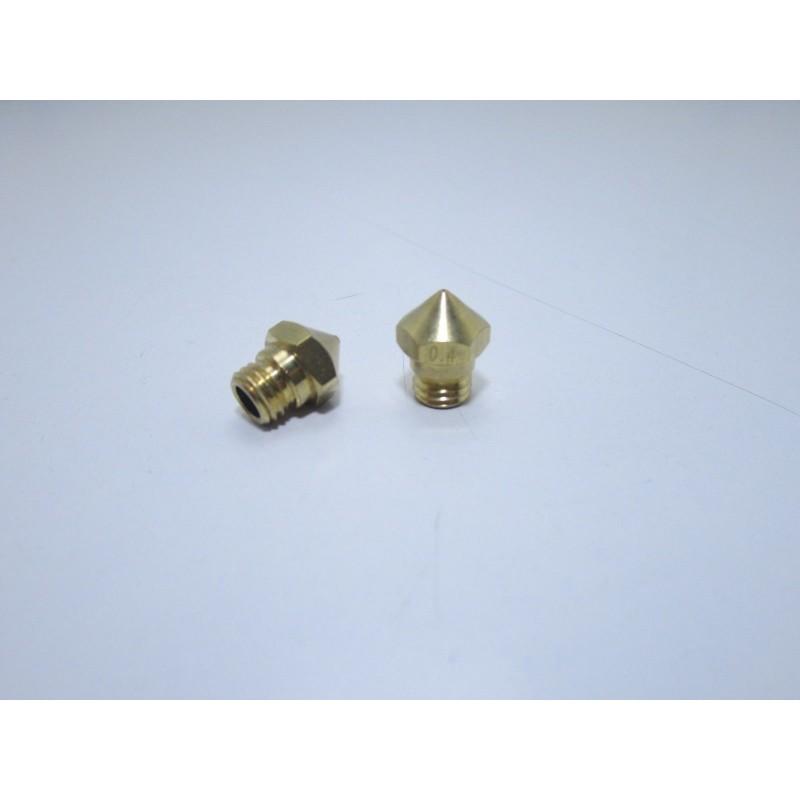 Ugello estrusore in ottone 0.4mm MK10 con filettatura M7 1.75mm stampante 3D