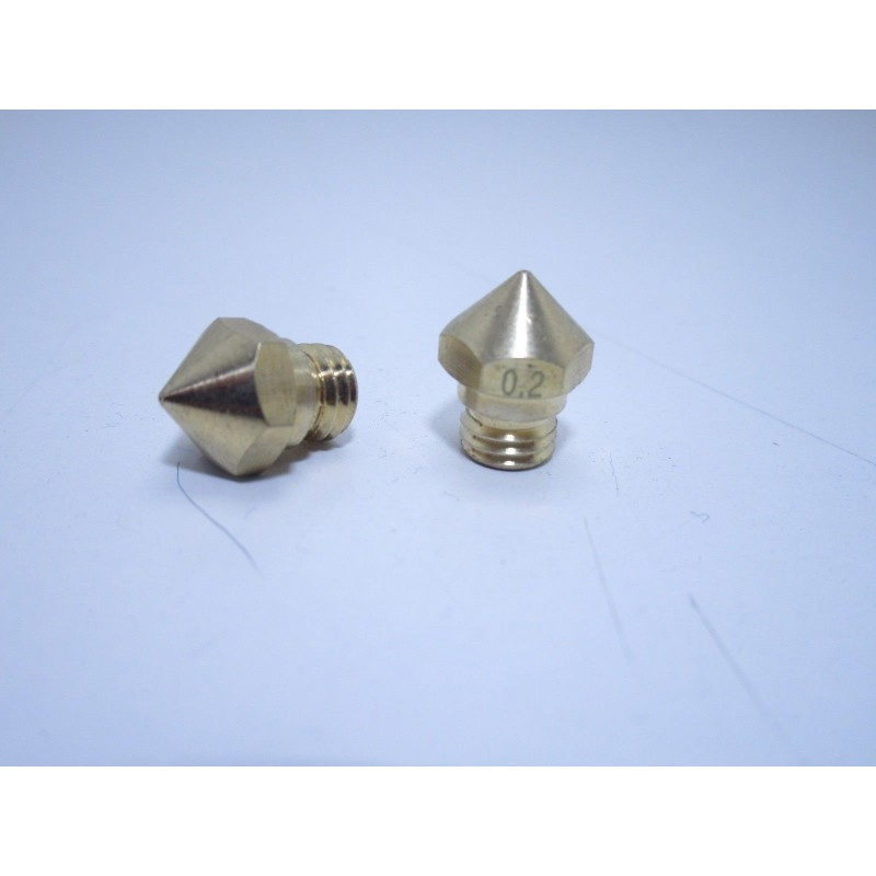 Ugello estrusore in ottone 0.2mm mk10 filettatura m7 per stampante 3d Makerbot