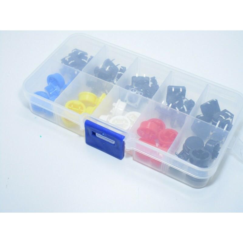 Kit 25 pulsanti tattili 12x12x7,3mm  momentanei + cappucci colorati arduino pcb