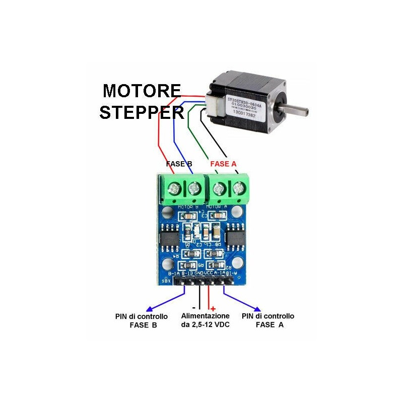 Driver L9110S ponte h 2,5v-12v per motori dc stepper motor passo-passo bipolare