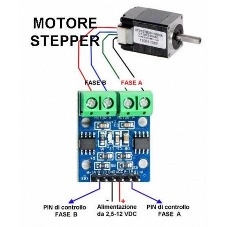 Driver L9110S 2 ch ponte h 12V per motori dc stepper motor passo-passo bipolare