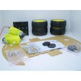 Kit smart car robot 4 WD con 4 motoriduttori ruote encoder piattaforma viti