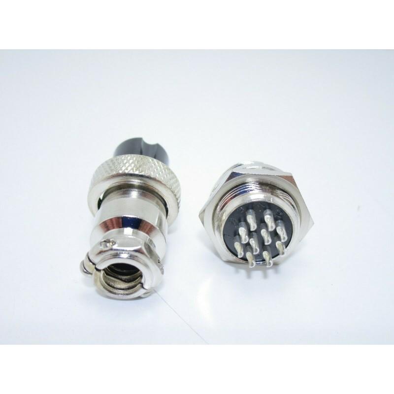 Kit connettori circolari gx16-10 10 pin 16mm maschio femmina da pannello