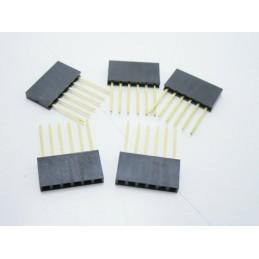 5 Connettori strip line femmina contatti lunghi 6 poli da circuito stampato
