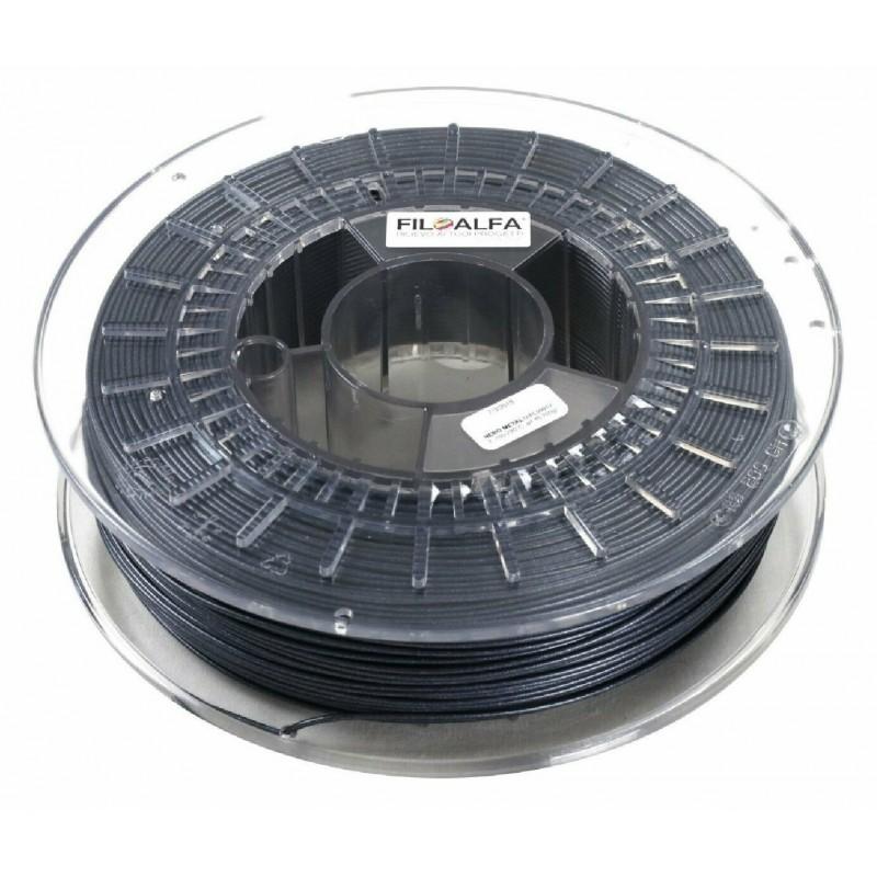 Bobina filamento PLA 1,75mm 700gr Nero metallico FiloAlfa 170-210°c stampante 3D
