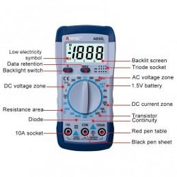 Tester multimetro digitale professionale A830L ac dc 600v 10A con puntali