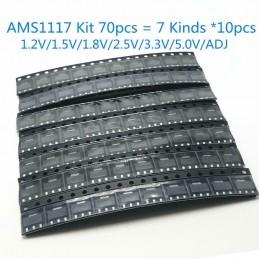 Kit 70 regolatori di tensione ams1117 7 valori 1,2v 1,5v 1,8v 2,5v 3,3v 5v adj