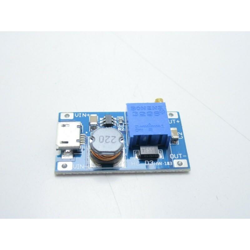 Regolatore di tensione regolabile step up micro usb 2A da 2-24v a 5-28V MT3608