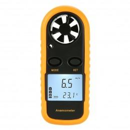 Anemometro digitale portatile per misura velocità vento con display e termometro