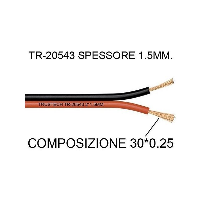 Cavo piattina rosso nero 2X1,5mm CCA 10 mt per altoparlanti casse audio stereo
