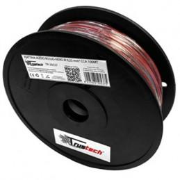Matassa cavo piattina rosso nero 2X0,25mm CCA 100mt per altoparlanti casse audio