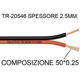 Cavo piattina rosso nero 2X2,5mm CCA 10 mt per altoparlanti casse audio stereo