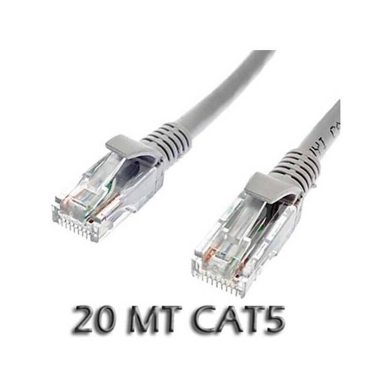Cavo di Rete ethernet Cat 5E 20 metri RJ45 Grigio per pc modem router