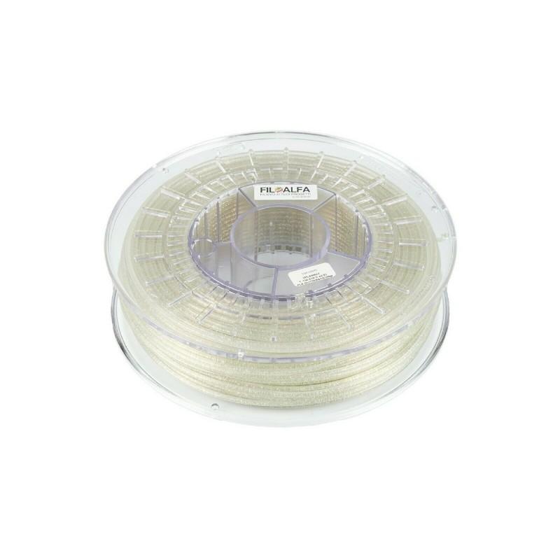Filamento PLA 1,75mm 700g trasparente glitterato bobina FILOALFA per stampante3D