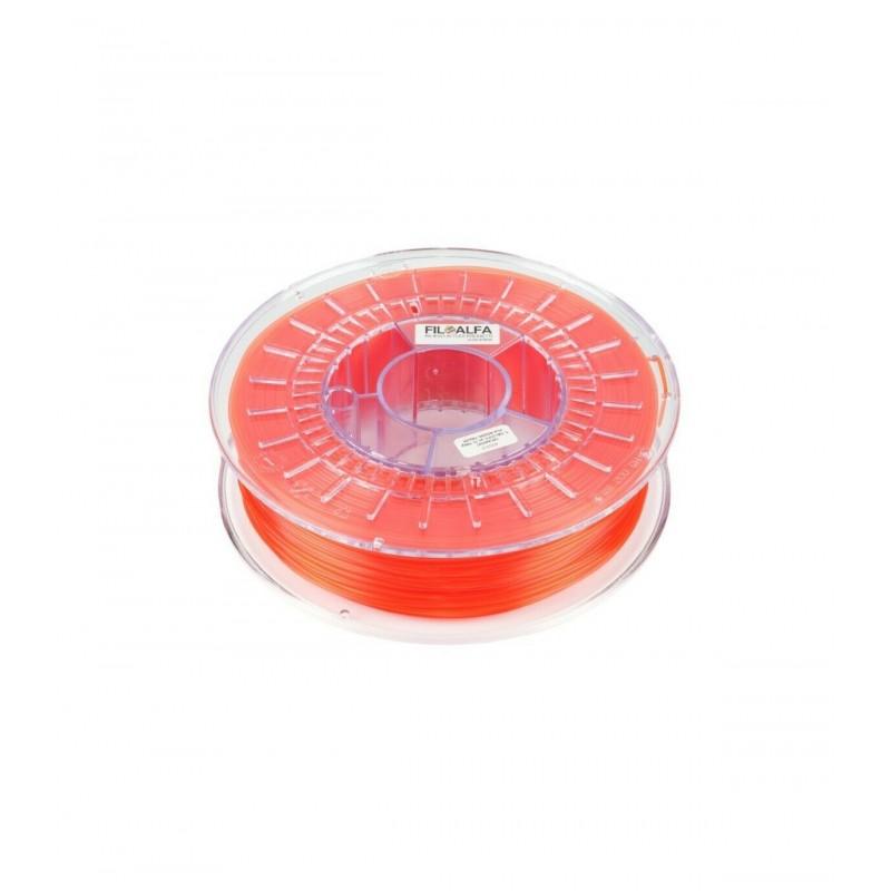 Filamento PLA 1,75mm 700g rosso trasparente bobina FILOALFA per stampante 3D