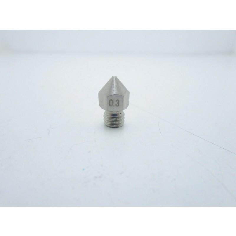 Ugello estrusore 0,3mm in acciaio inox filettatura M6 stampante 3d pla abs mk8