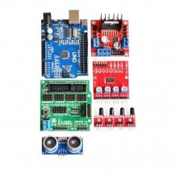 KIT robot 4 ruote con Arduino uno r3 case L298 hc-sr04 sg90 pan-tilt sensori ir