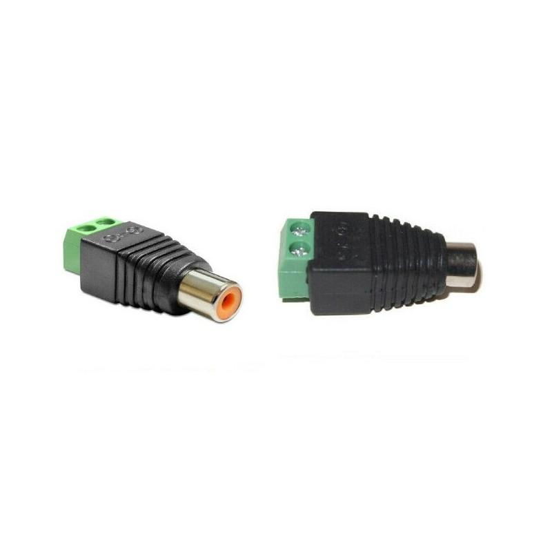 2pz Connettore adattatore audio RCA a morsetto fermmina per presa video stereo