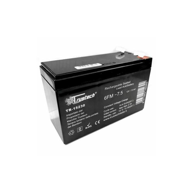 Batteria al piombo 12v 7,5ah ricaricabile ermetica TRUSTECH per ups allarme