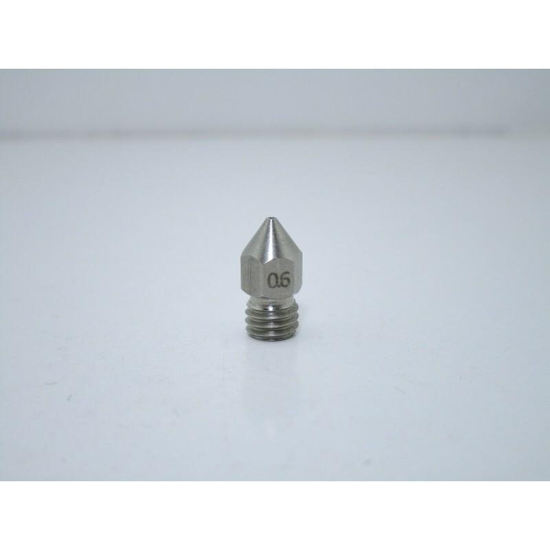 Ugello estrusore acciao inox 0,6mm m6 per filamento PLA 1,75MM per stampante 3D