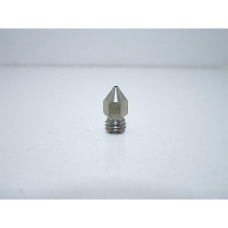 Ugello estrusore acciao inox 0,8mm m6 mk8 per filamento PLA 1,75MM stampante 3D